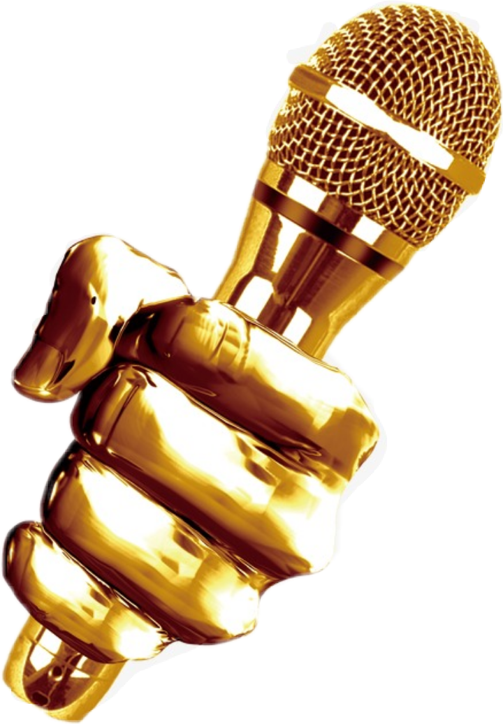 Golden microphone png. Gold music onstage dj