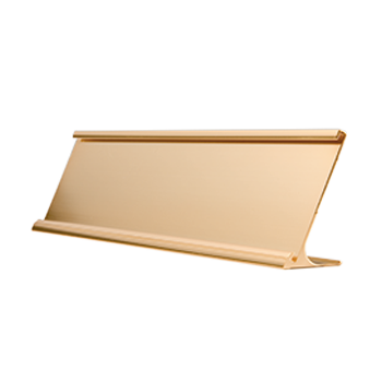 Gold name plate png. Desk with a metal