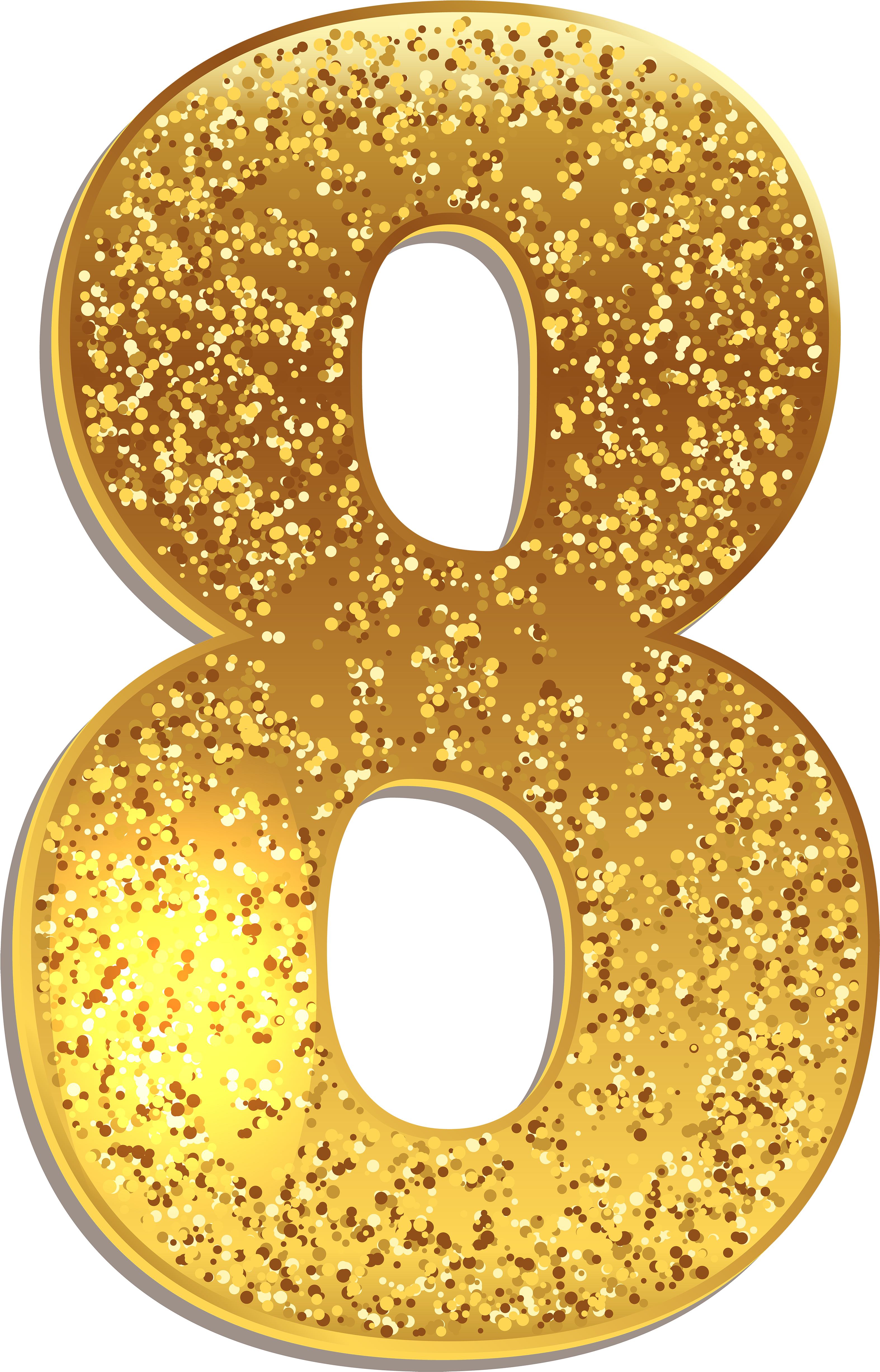 Gold numbers png. Download number eight shining