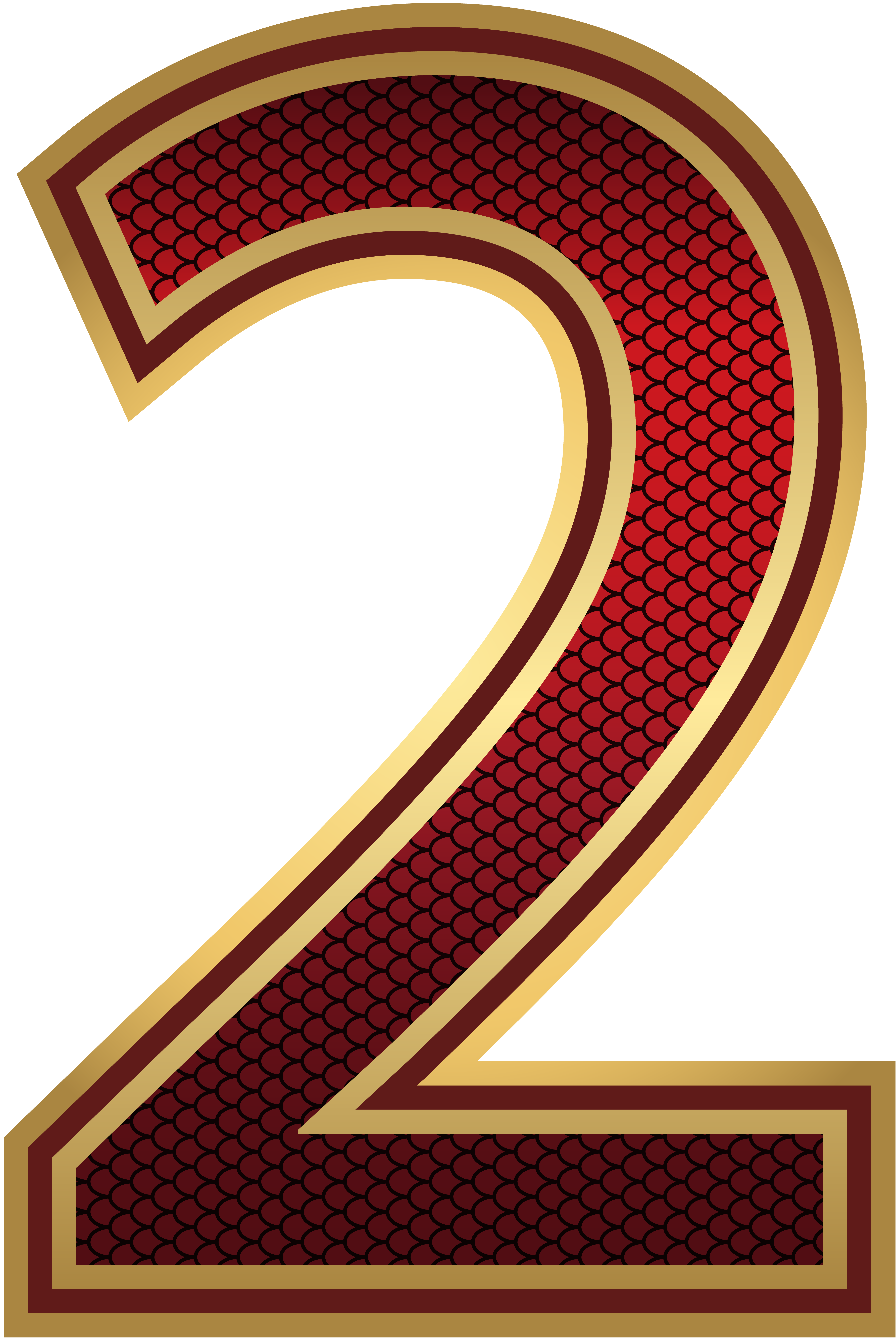 Gold numbers png. Red and number two