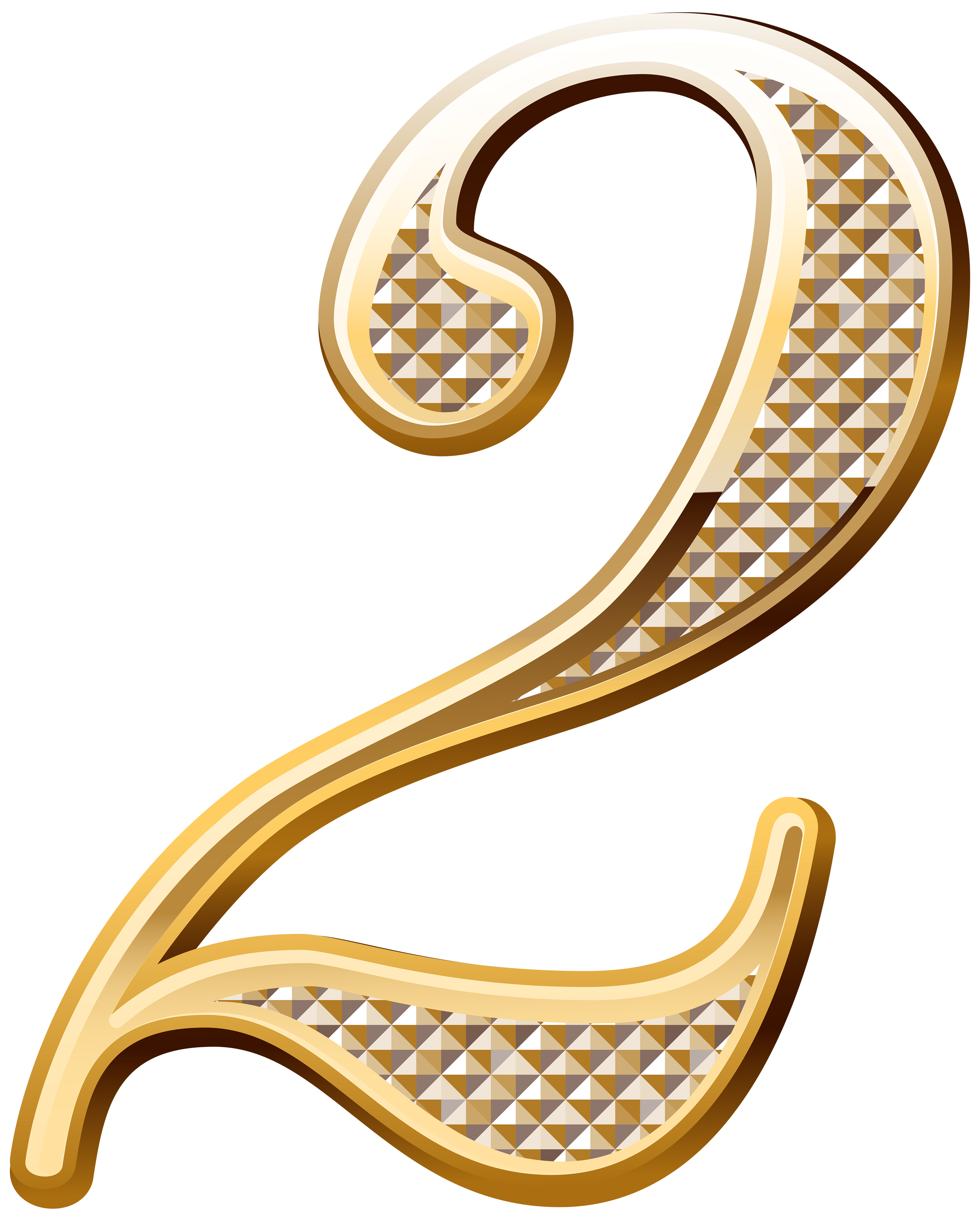 Gold numbers png. Deco number two clipart