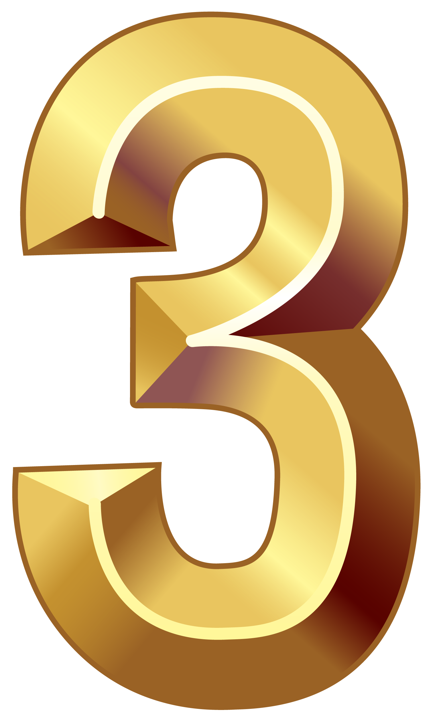 Gold numbers png. Number three clipart image