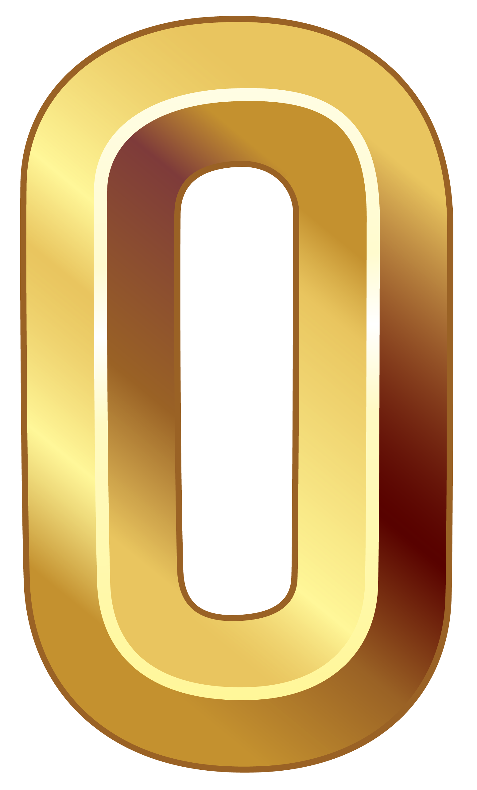 Gold numbers png. Number zero clipart image