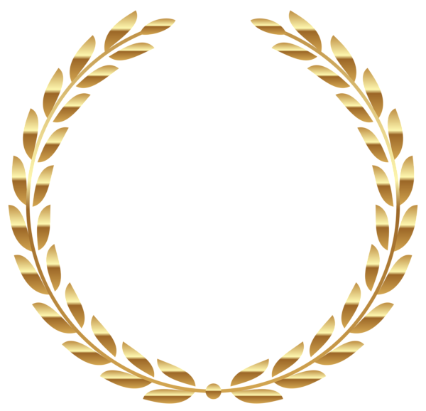 Vector laurel feather. Transparent gold wreath png