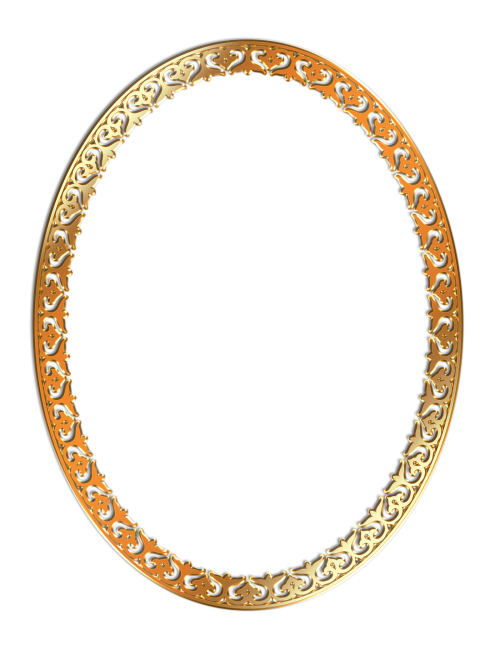 Gold oval frame png. Golden photo transparent image