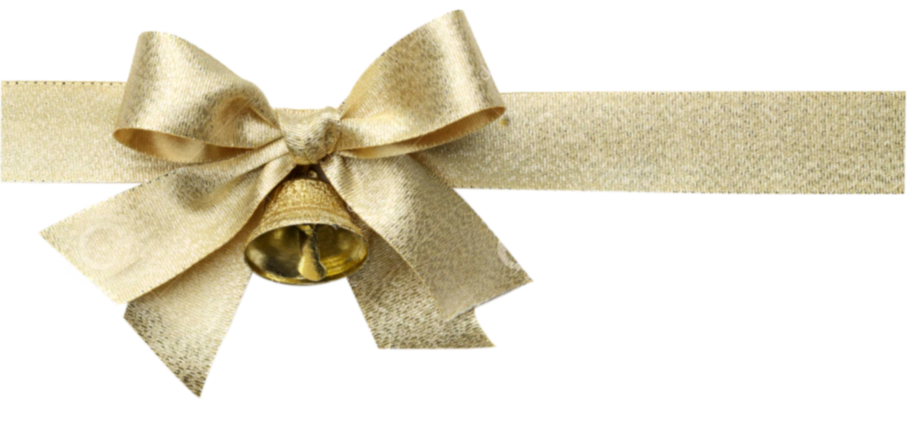 Gold ribbon bow png. Golden christmas isolated