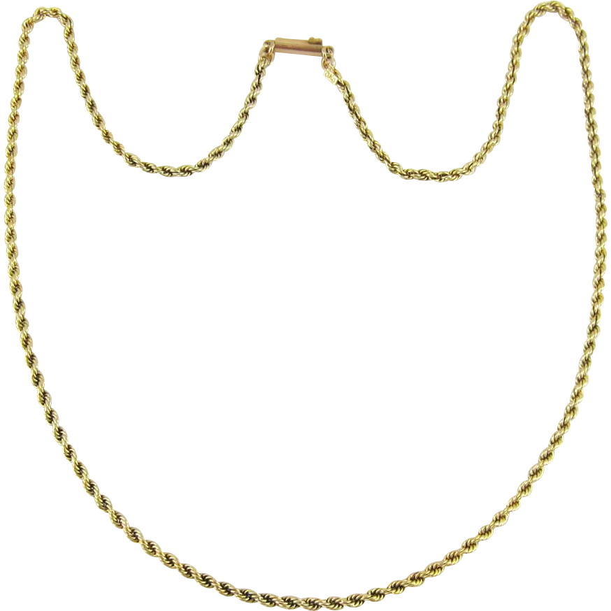 Gold rope chain png. Vintage carat style link
