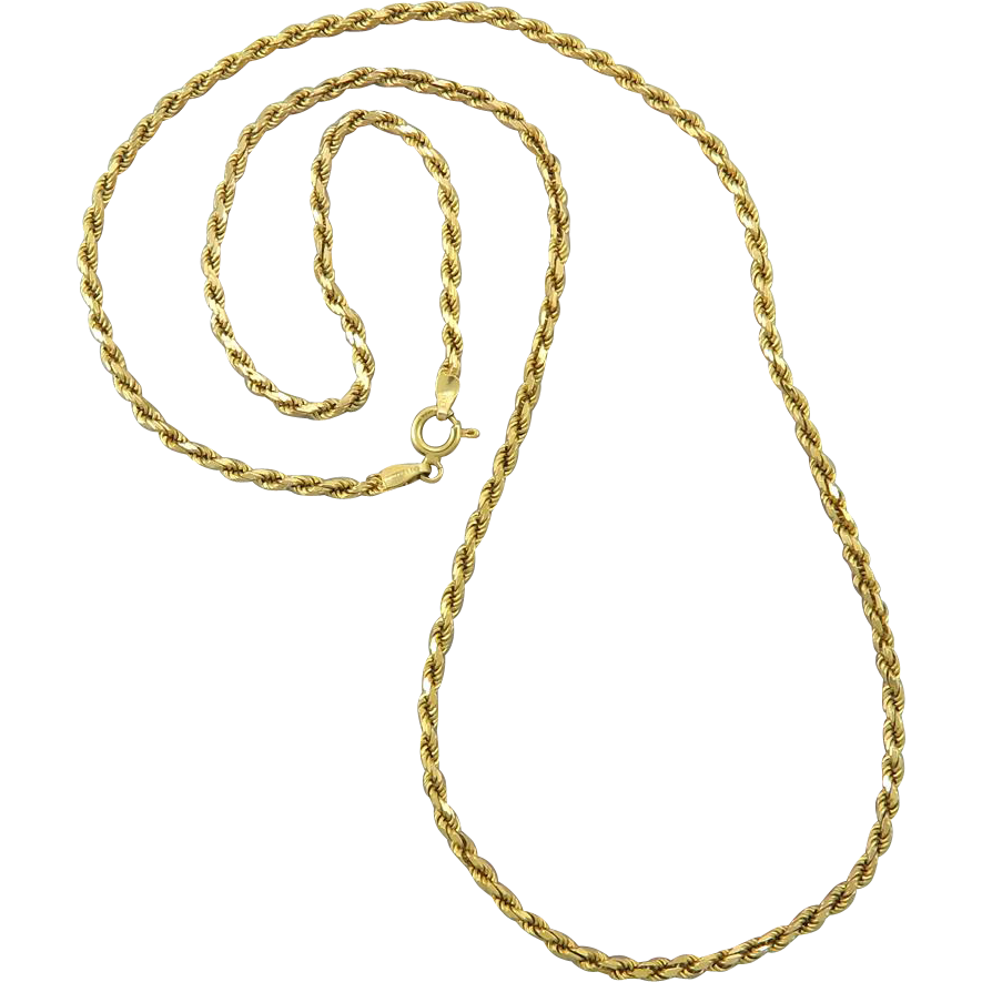 Gold rope chain png. Vintage heavy k italian