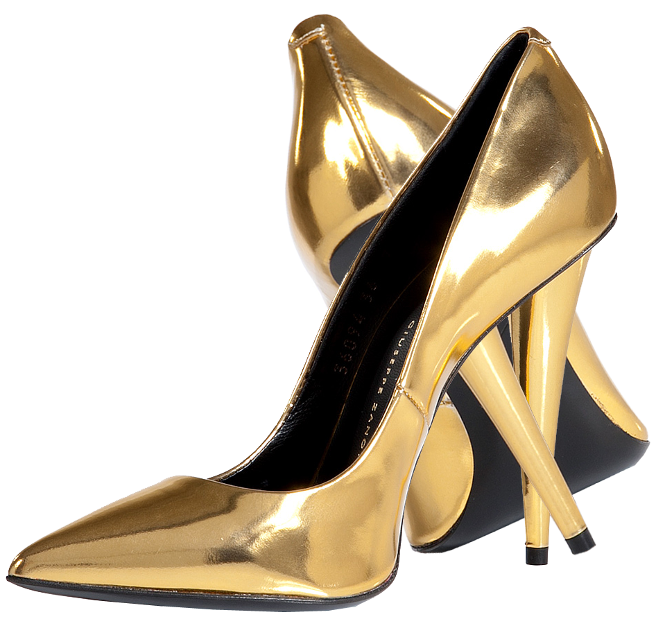 Gold shoes png. Court shoe high heeled