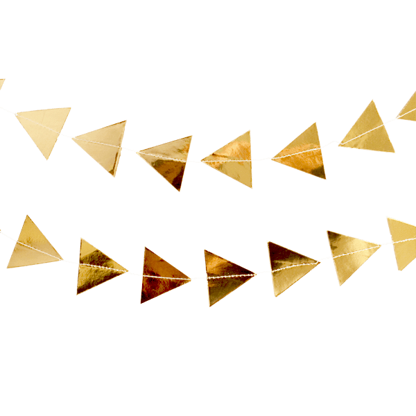 Gold streamers png. Goddess foil triangle garland