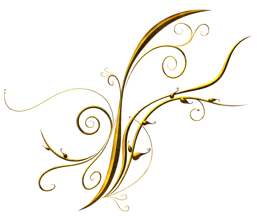 Gold streamers png. Golden deco ornament clipart