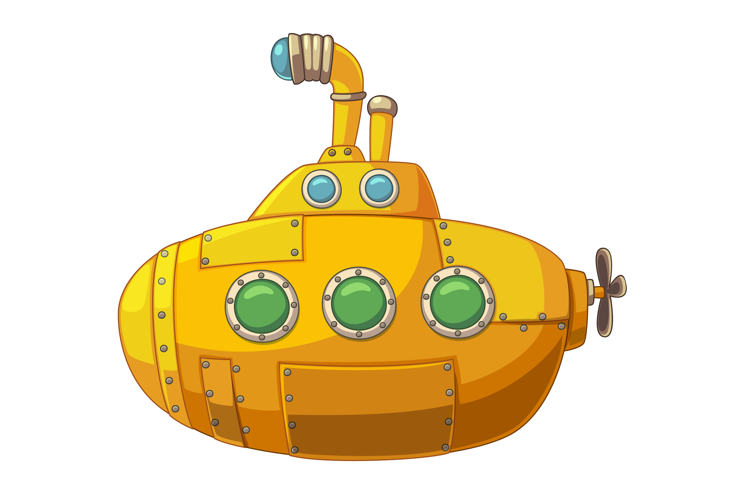 Gold submarine. Cute yellow download free