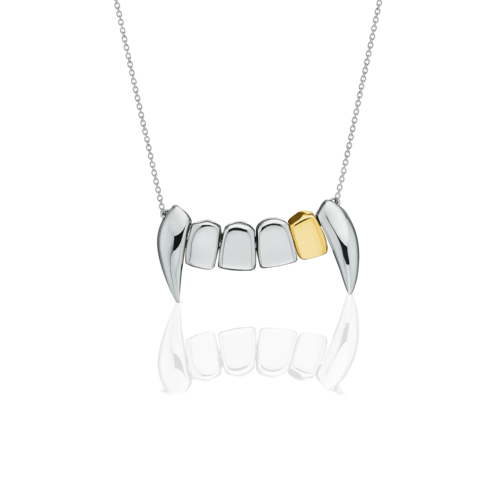 Gold tooth png. Fang necklace with meadowlark