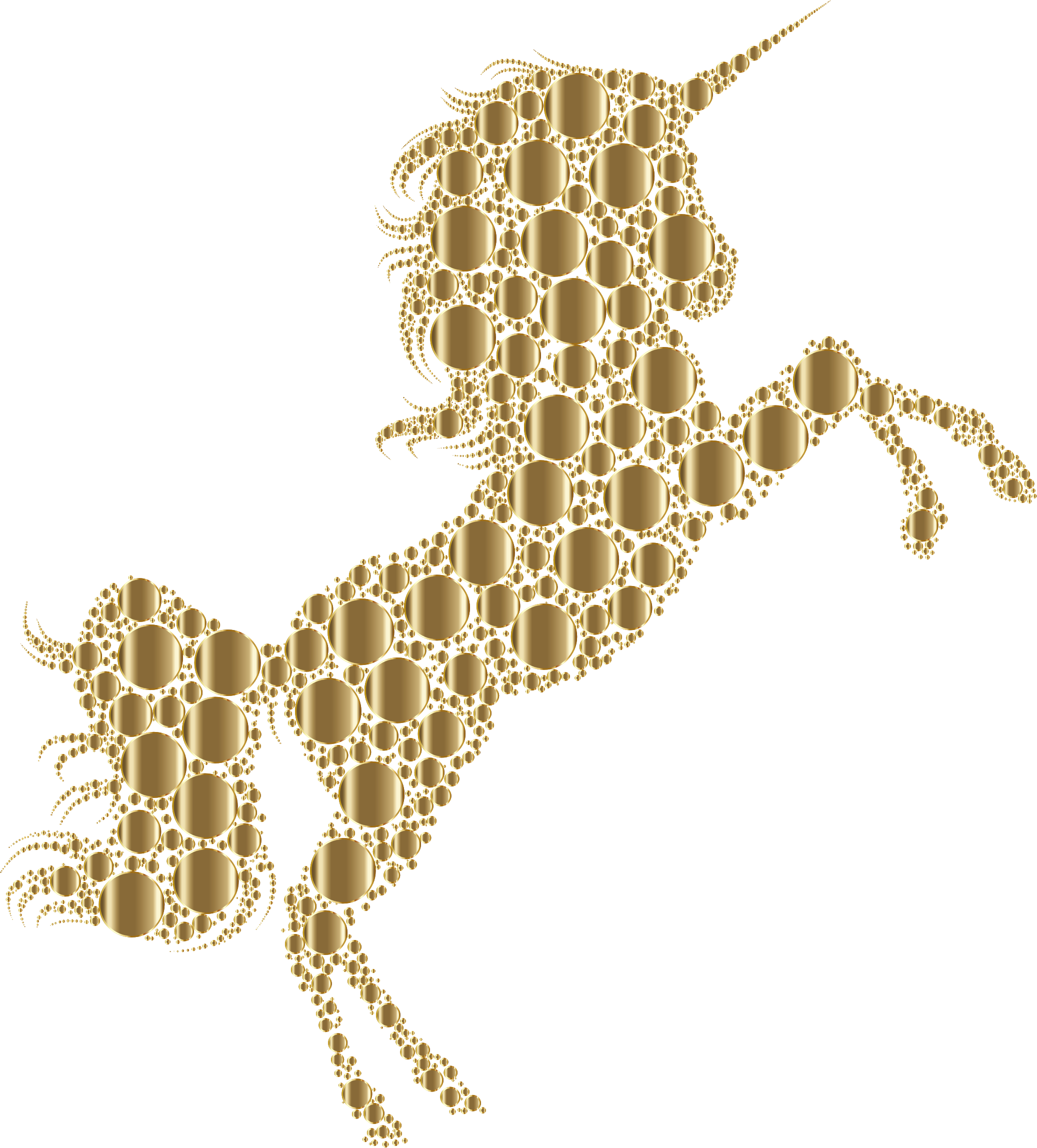 Gold unicorn png. Clipart silhouette circles no