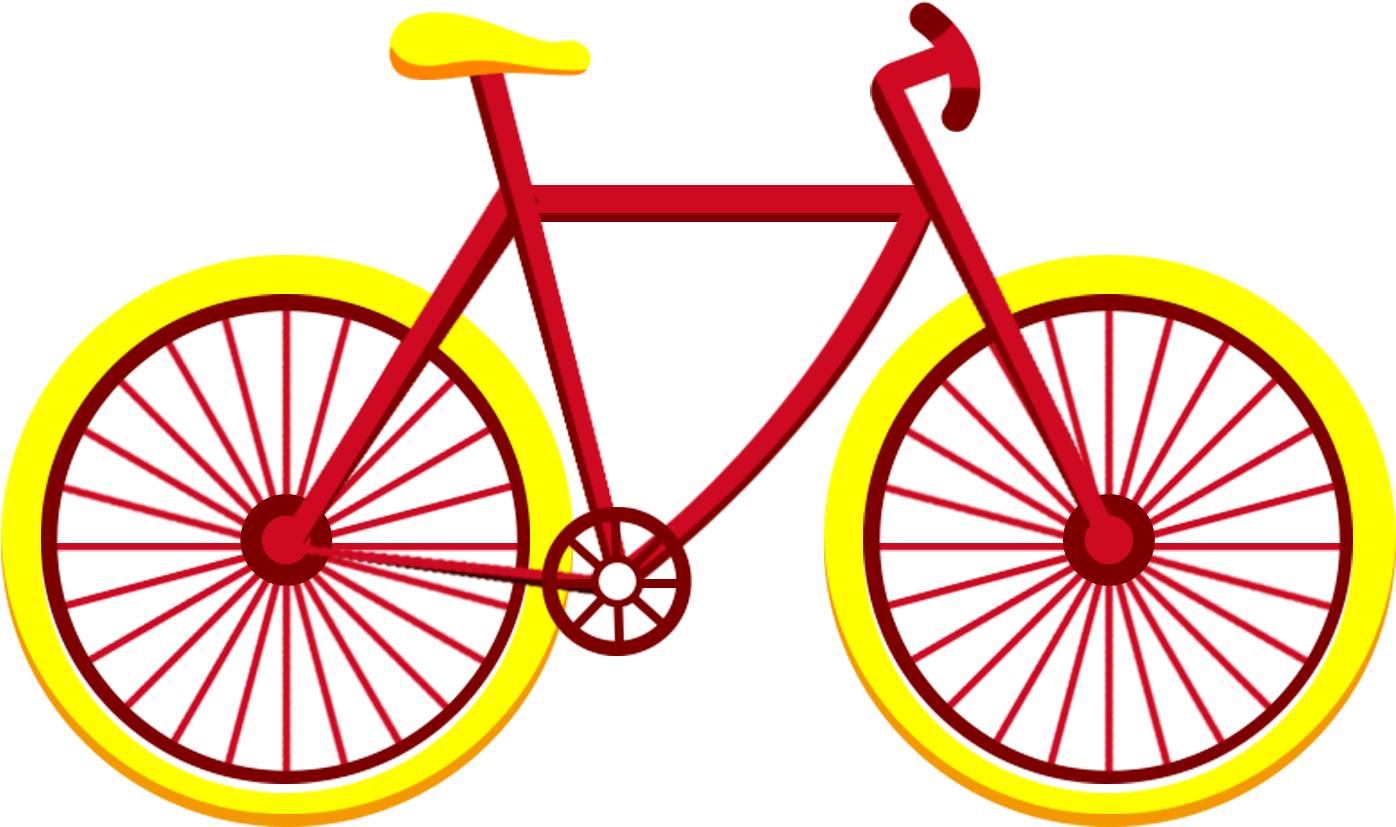 Yellow bicycle. Hd red vehicle flat