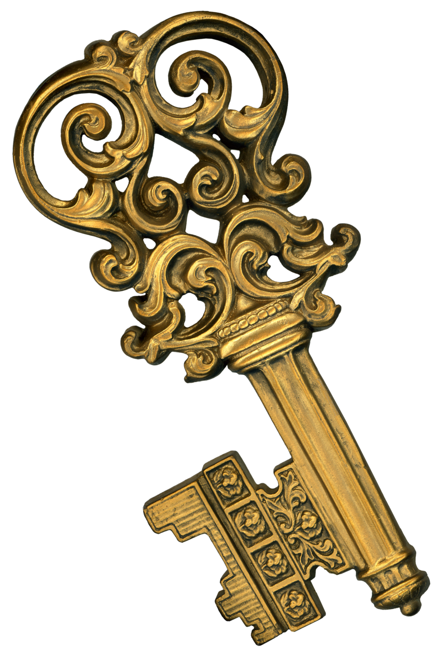 Keys transparent steampunk. Retro fancy gold plaster