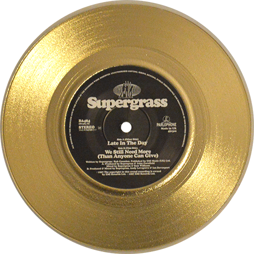 Gold vinyl record png. Supergrass late in the