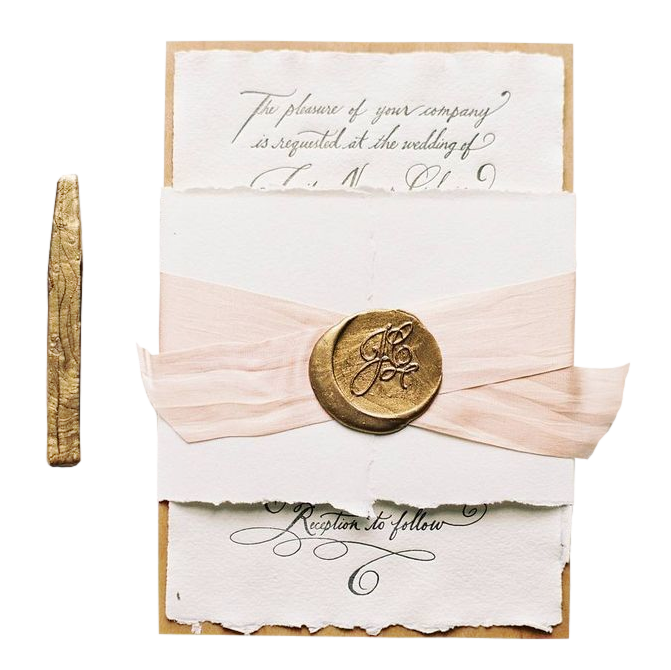 Gold wax seal png. Vintage invitation with by