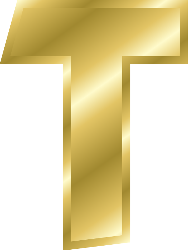 Gold letters png. Alphabet the letter t