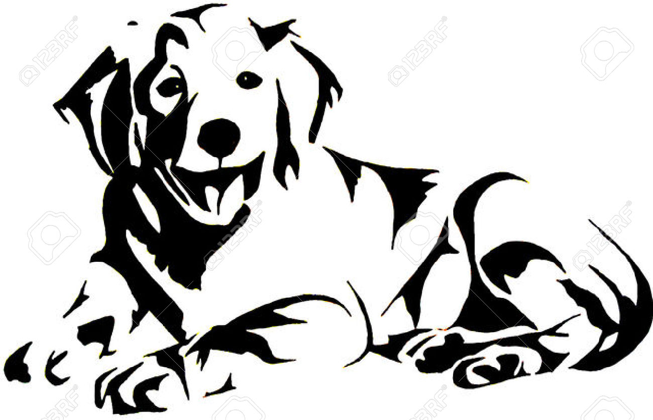 Golden clipart black and white. Retriever pencil in color