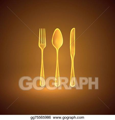 Golden knife. Vector illustration with plate