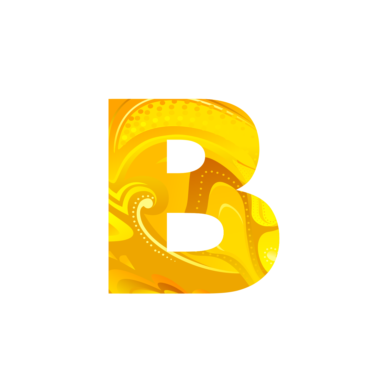 Golden letters png. Letter b icon transprent