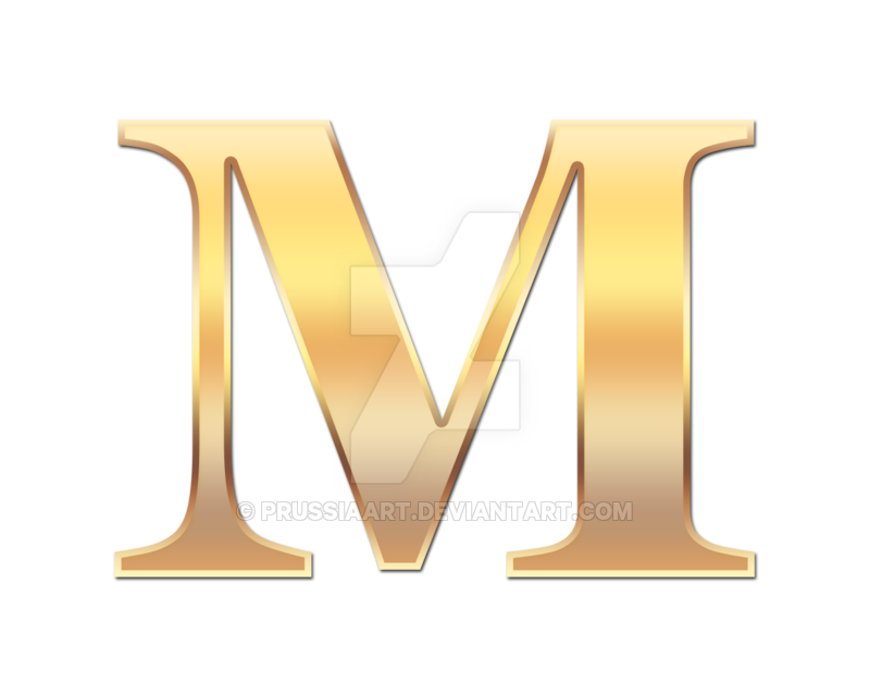 Golden m png. Letter by prussiaart on