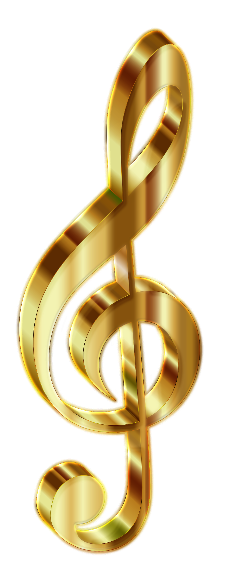 Golden music note png. Clipart gold d clef