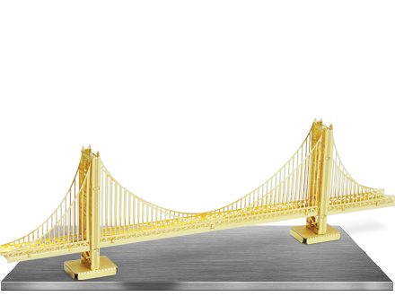 Golden state bridge png. Metal earth gate gold