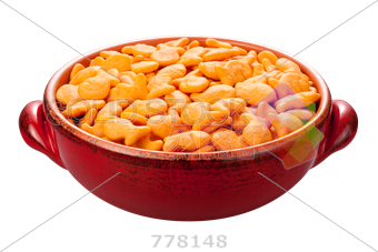 Transparent cereal red bowl. Stock photo of goldfish