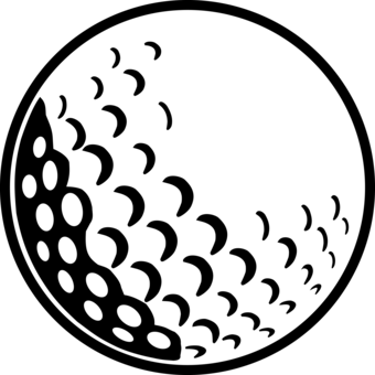 Golfball vector black and white. Golf course hannah institute