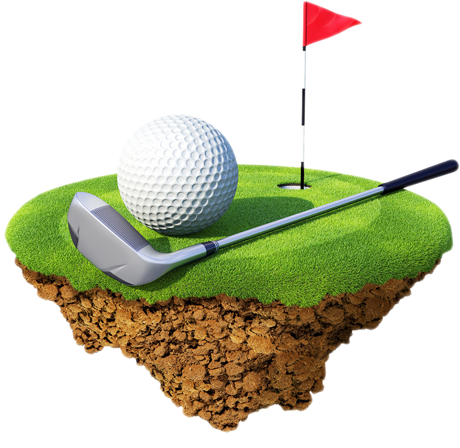 Golf club with ball png. Clubs course balls miniature