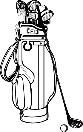 Golfer drawing bold. Golf bag club clip