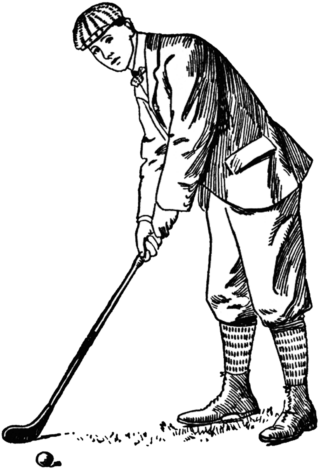 Golfer drawing. Being hit by golf