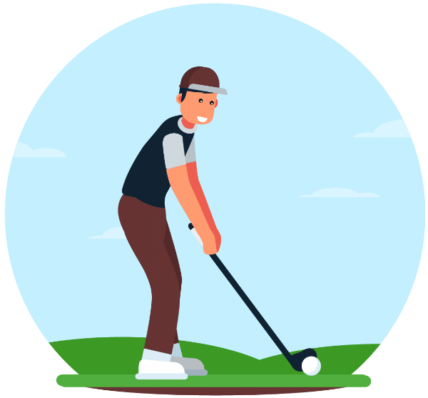 Golfer drawing golf swing. The perfect plane here