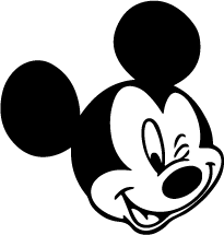 Goofy vector mickey mouse face. Walt disney silhouettes of