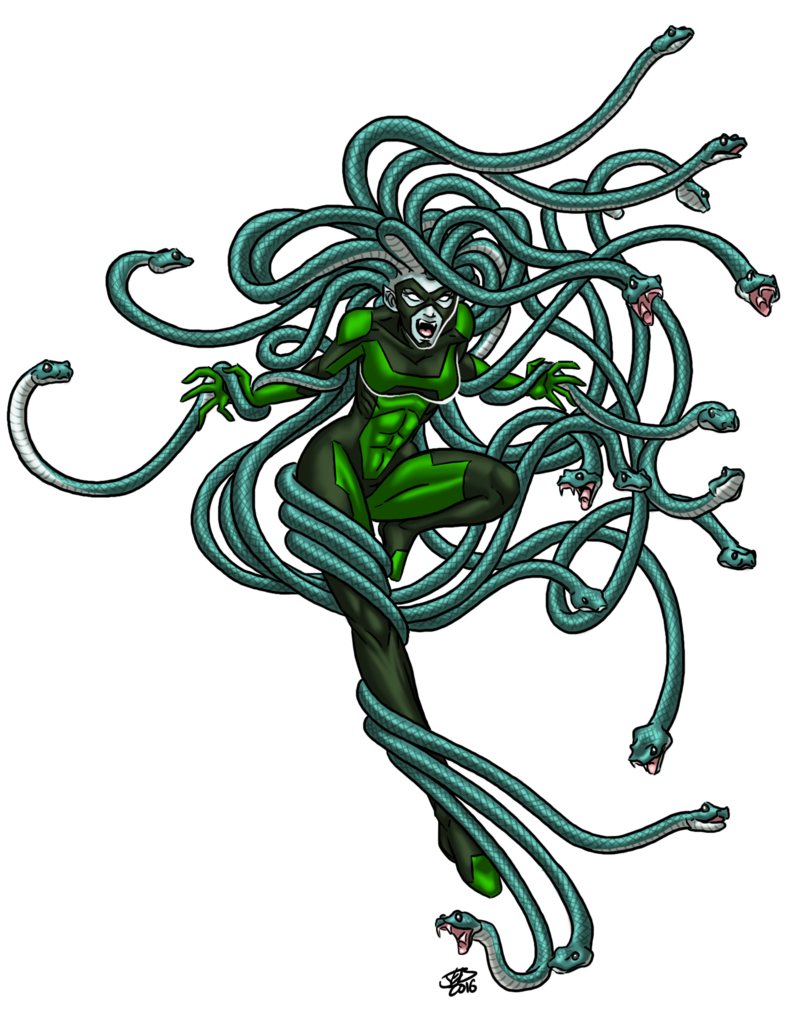 Gorgon drawing evil. Spb medusa snake hair
