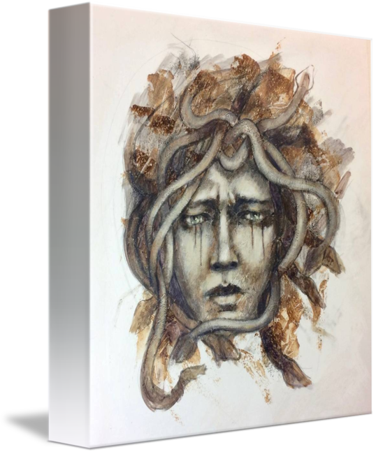 Gorgon drawing portrait. The medusa by sudie
