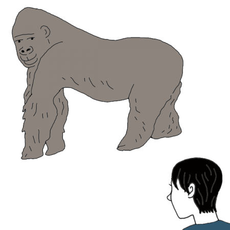 Drawing gorilla mammal. Awaken your magick powers