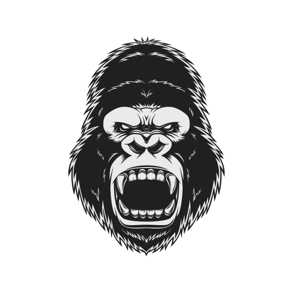 Drawing gorilla head. Printed vinyl stickers factory