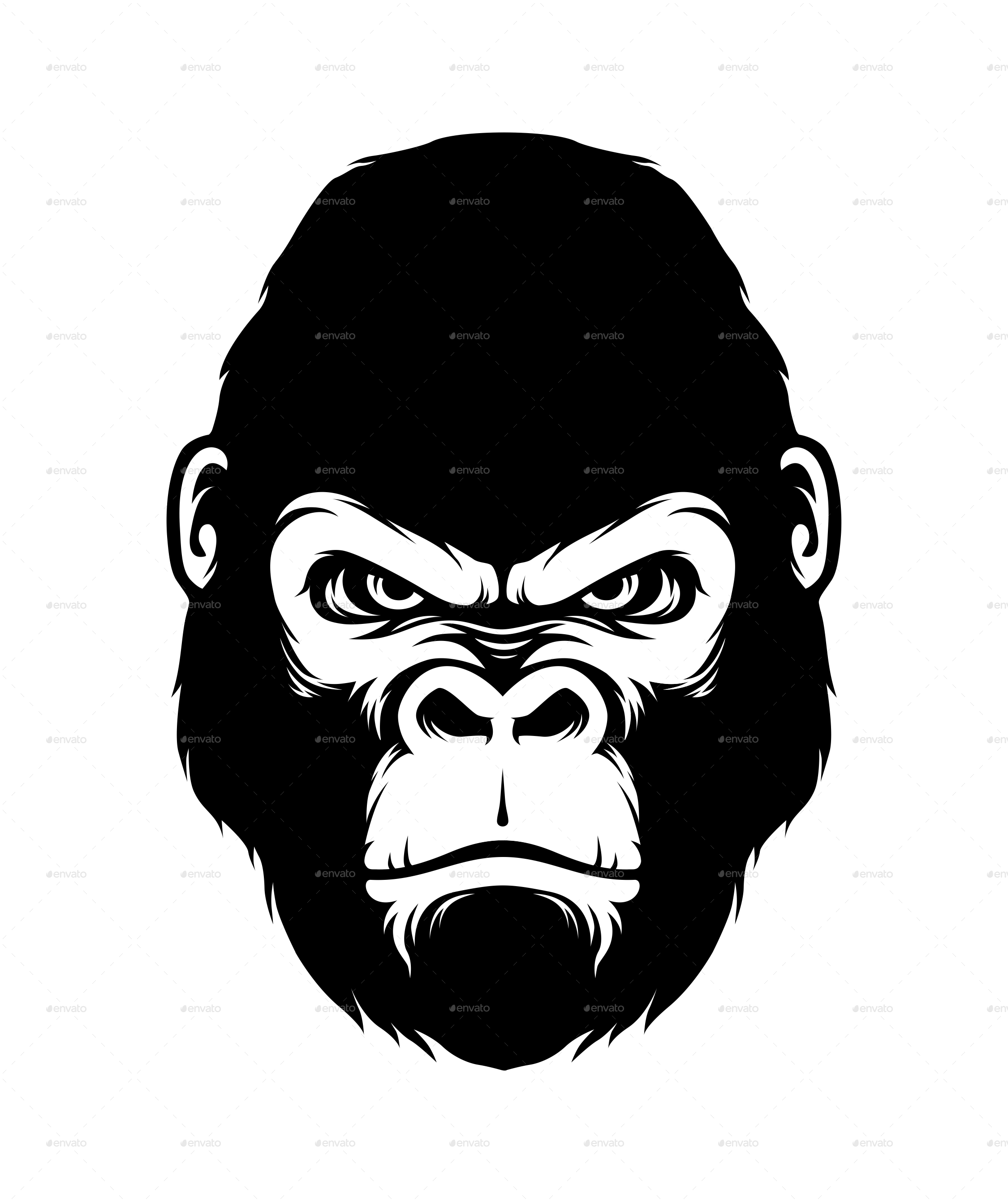 Gorilla head png. Silhouette style by fahroer