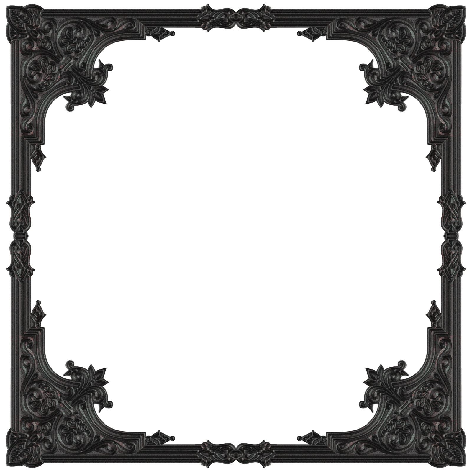 Gothic borders png. Old metal frame by