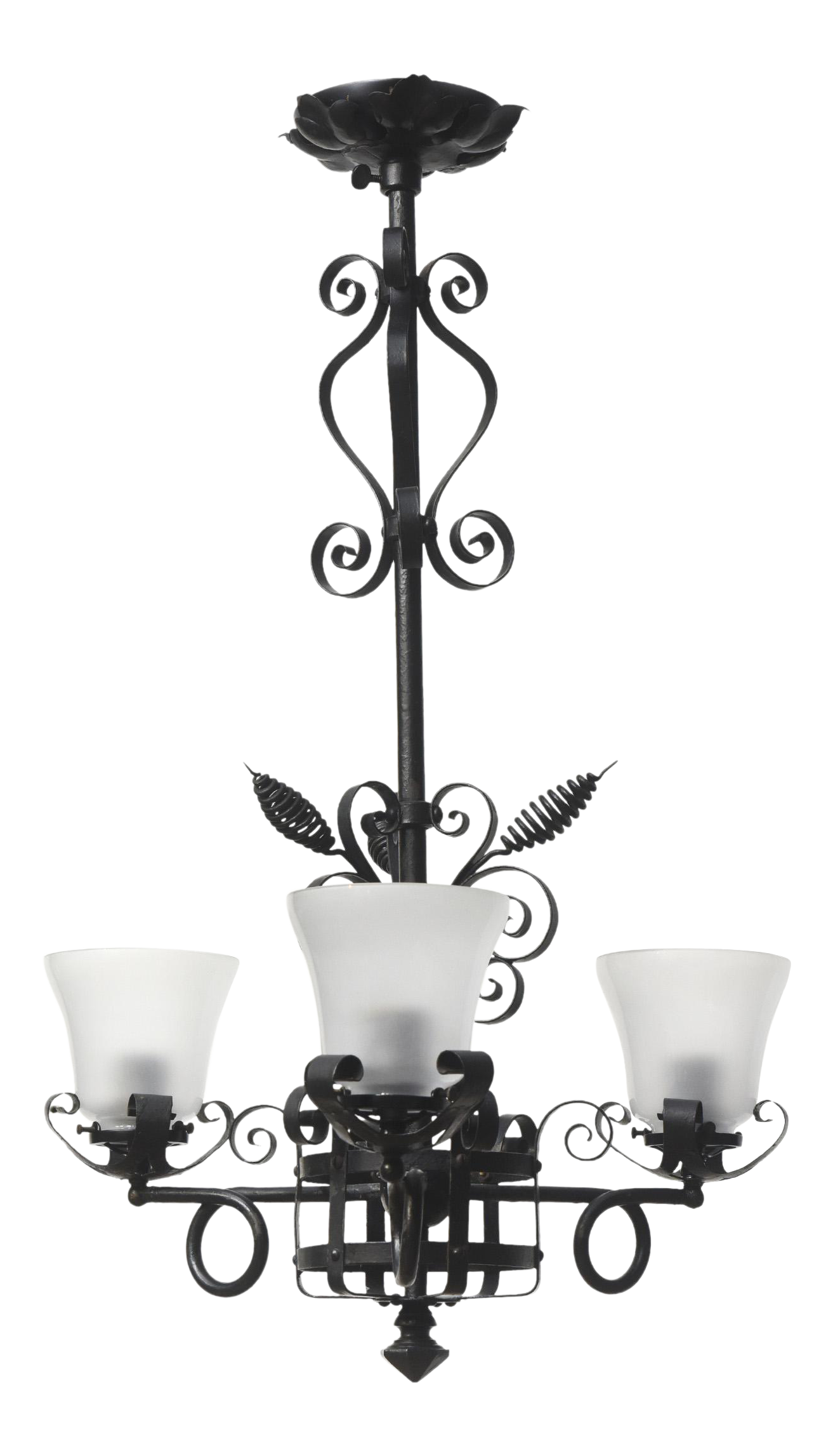 Gothic chandelier png. Victorian three light wrought