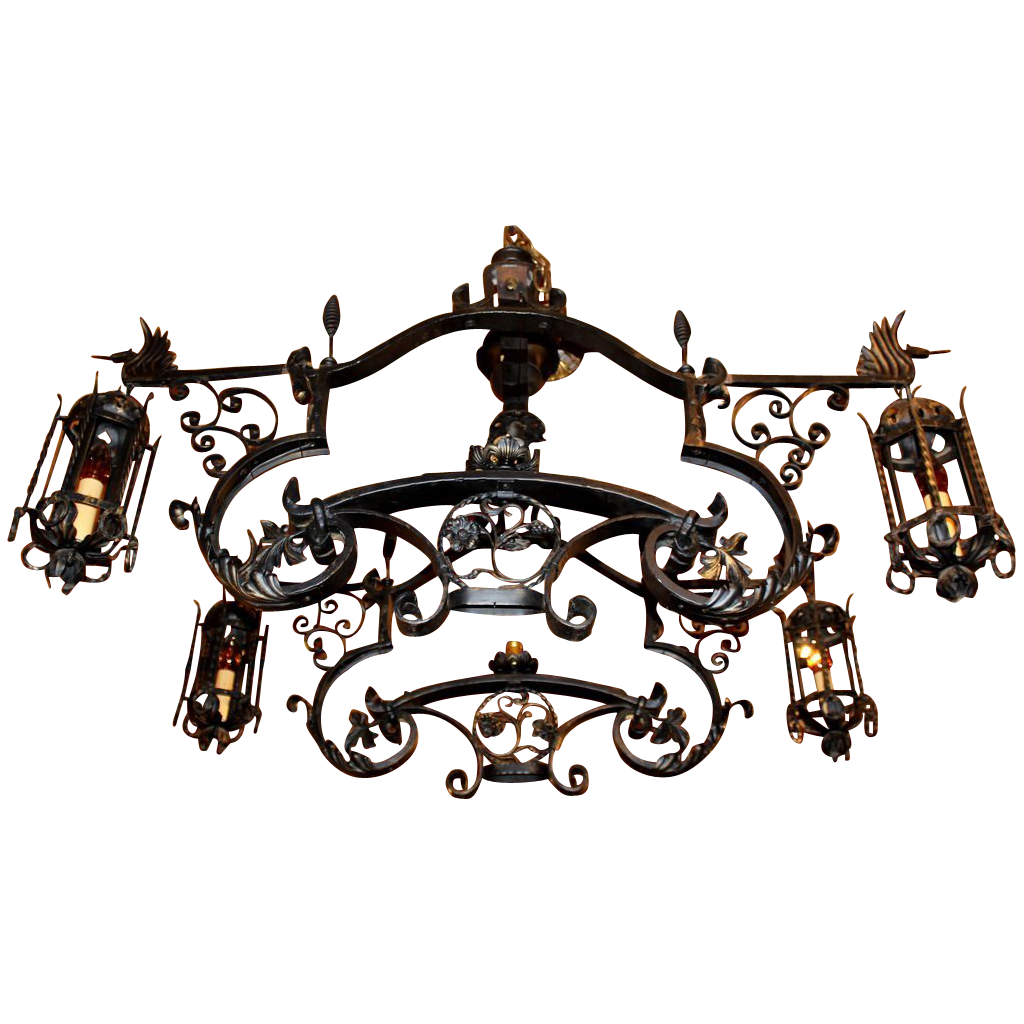 Gothic chandelier png. Vintage revival iron new