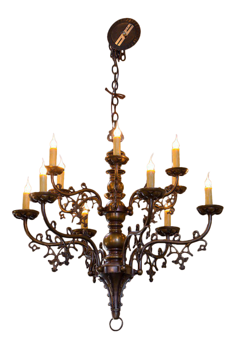 Gothic chandelier png. Superb belgian style bronze