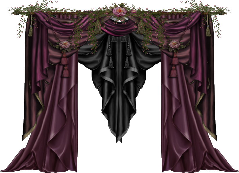 Gothic curtains png. Mauve and black by