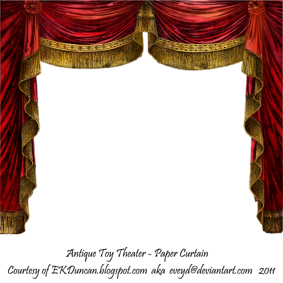 Gothic curtains png. Paper theater curtain ruby