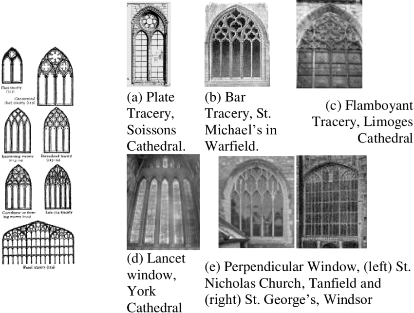 Gothic vector cathedral window. Figure fractals in windows