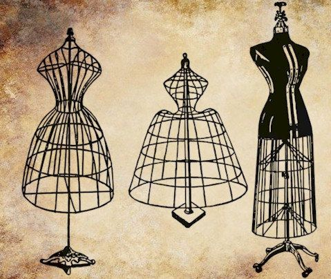 Gown clipart dress dummy. Antique wire forms mannequins