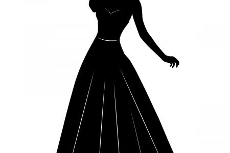 Gown clipart silhouette. Woman in dress at